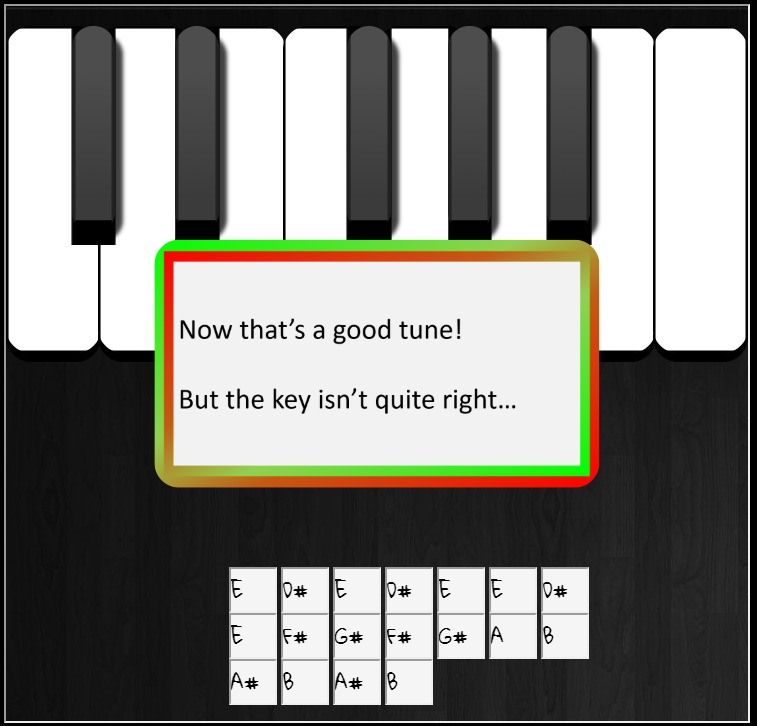 Piano key out of tune
